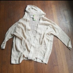 Open knit dolman sleeve cream hooded cardigan